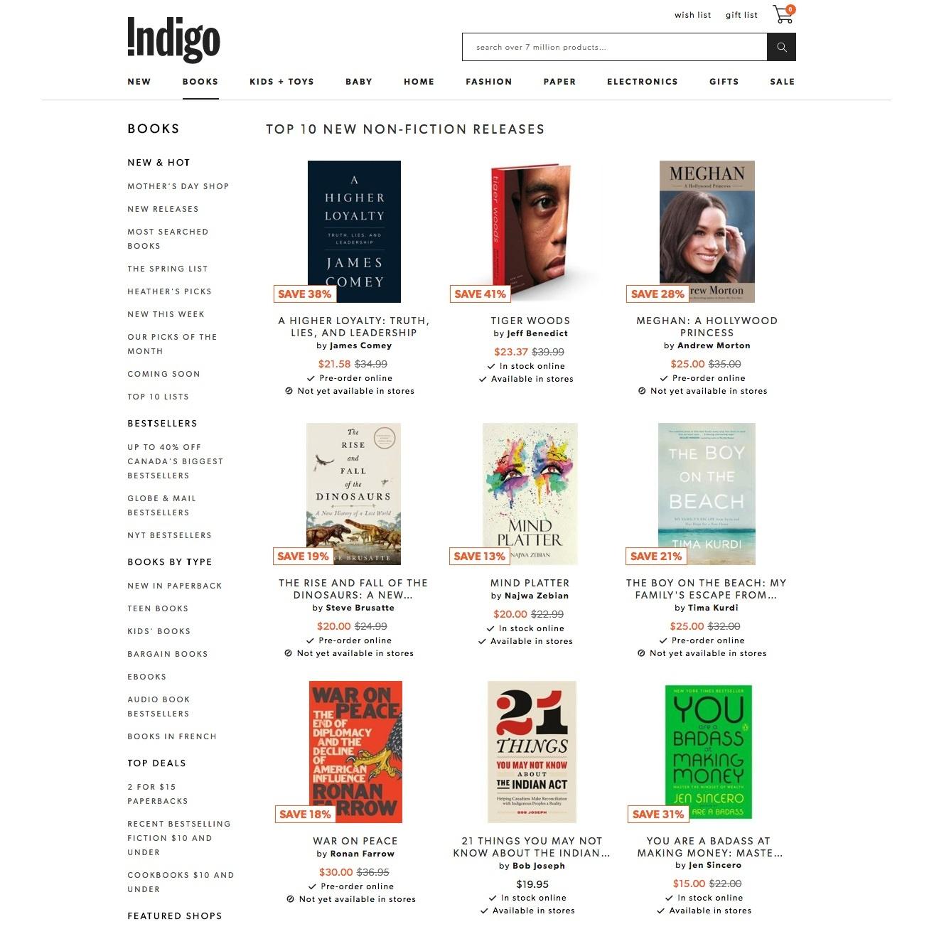 Indigo Top 10 Bestseller List