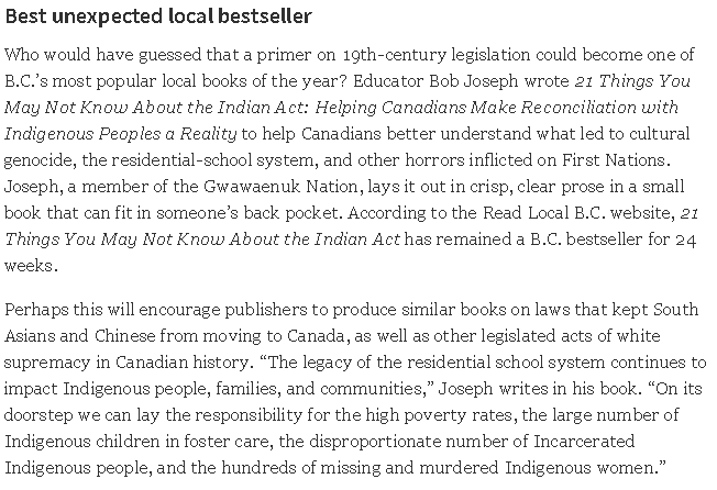 Indian Act book makes Georgia Straight List of Bests in Vancouver