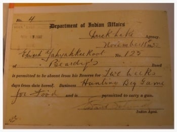 Indian Act Permit to leave Indian reserve